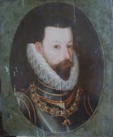 Portrait Erzherzog Ferdinand während der Restaurierung mit Kittungen